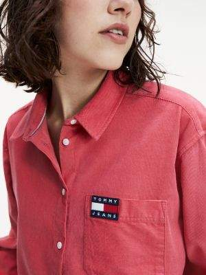 Tommy Hilfiger Cropped Fit Washed Corduroy Shirt