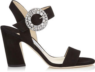 Jimmy Choo MISCHA 85 Black Suede Slingback Sandals with Crystal Buckle