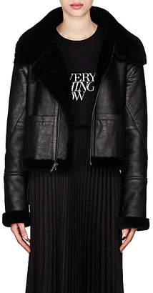 Saint Laurent Women's Leather & Shearling Asymmetric-Zip Jacket - Black