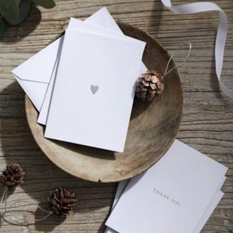 The White Company Thank you, With Love Card Duo - Set of 10, White Silver, One Size