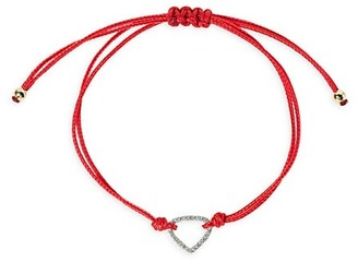 MARINA B Trina 18K Yellow Gold & Diamond Heart Pendant Red Cord Bracelet