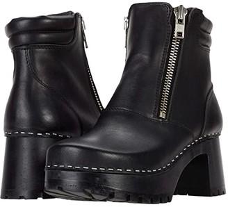 Swedish Hasbeens Biker Bootie (Black/Black) Women's Pull-on Boots