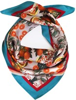 Texas And The Artichoke Pineapple and Prawns Pink Silk Scarf