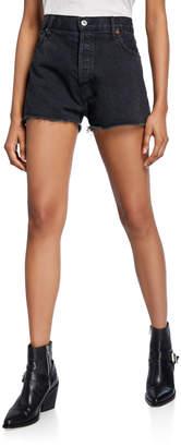 RE/DONE High-Rise Frayed-Edge Denim Shorts