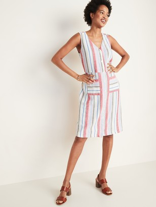 Old Navy Striped Button-Front Linen-Blend Fit & Flare Dress for Women