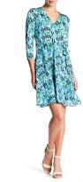 ECI 3/4 Length Sleeve Wrap Dress