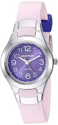 Armitron Sport Women's Easy to Read Silver-Tone and Matte Light Pink Resin Strap Watch