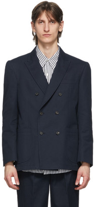 Noah NYC Navy Double-Breasted Blazer