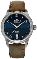 Alpina Al-525n4e6 Automatic Stainless Steel Leather Strap Watch, Brown/blue