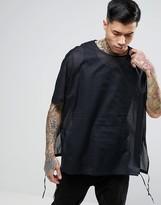 Asos Oversized Overhead Sheer Shirt In Black
