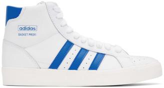 adidas White and Blue Basket Profi Sneakers