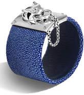 John Hardy Legends Macan Silver Bracelet with Stingray Strap, Dark Blue