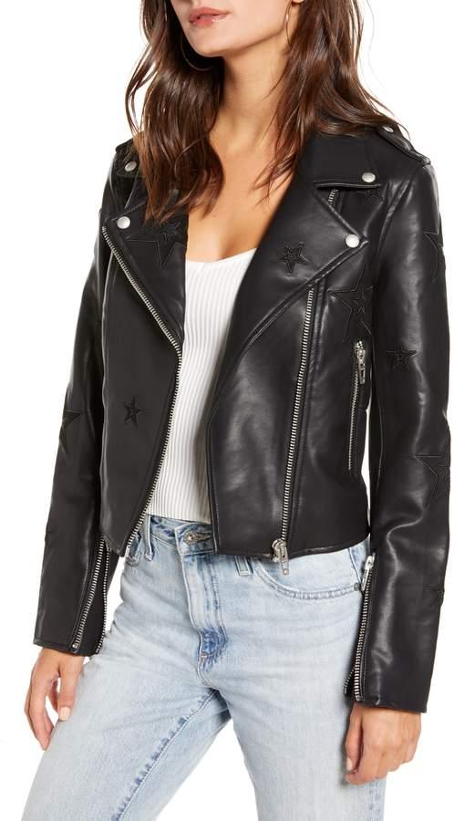 88189fcbd BLANKNYC Tonal Star Faux Leather Moto Jacket