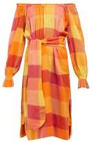 Belize - Elisa Checked Cotton Midi Dress - Womens - Red Multi