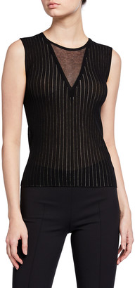 Akris Sheer V-Neck Sleeveless Ribbed Sweater