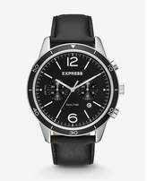 Express black leather strap dual-time watch