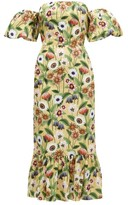 Borgo de Nor Aleila Floral-print Cotton-poplin Midi Dress - Womens - Yellow Multi