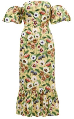 Borgo de Nor Aleila Floral-print Cotton-poplin Midi Dress - Yellow Multi