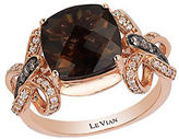 LeVian Chocolatier Vanilla Diamond, Chocolate Diamond, Smoky Quartz and 14K Rose Gold Ring