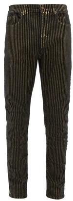 Saint Laurent Metallic-stripe Slim-leg Jeans - Mens - Black Gold