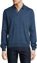 Neiman Marcus Long-Sleeve Polo Sweater, Blue