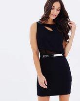 GUESS SL Asymmetrical Bodice Belted Dress
