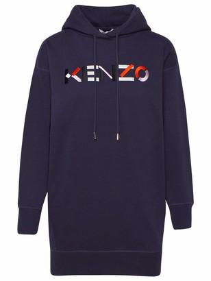 Kenzo Vestito Felpa Capp. Logo Blu