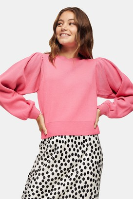 Topshop Womens Pink Exaggerated Sleeve Knitted Sweatshirt Jumper - Pink