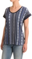 Specially made Cotton-Blend Print T-Shirt - Scoop Neck, Short Sleeve (For Women)
