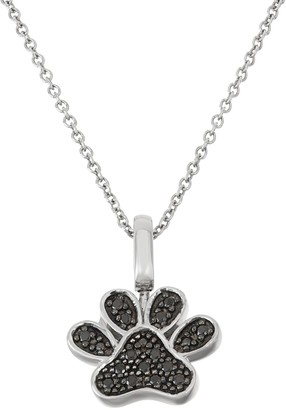 Sterling Silver 1/6 Carat T.W. Black & White Diamond Paw Print Pendant Necklace