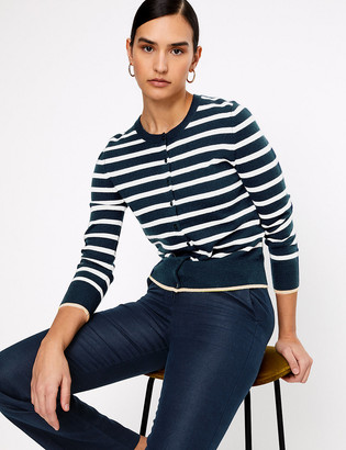 Marks and Spencer Pure Cashmere Striped Regular Fit Cardigan