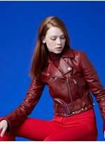 Diane von Furstenberg Cropped Moto Leather Jacket