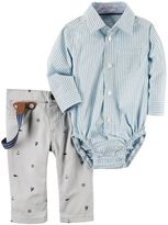 Carter's Baby Boy Striped Button-Down Bodysuit & Sailboat Suspender Pants Set