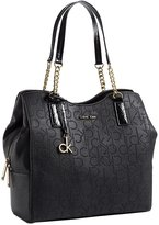 Calvin Klein Womens Sadie Center Zip Hobo Shoulder Black Bag
