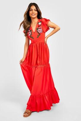 boohoo Embroidered Ruffle Hem Maxi Dress