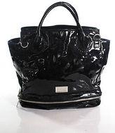 Badgley Mischka Black Patent Leather Silver Tone Trim Large Satchel Handbag