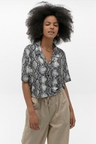 Urban Outfitters Snake Crepe Button-Through Shirt - grey XS at