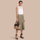 Burberry Inverted Pleat Ramie Cotton Skirt