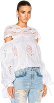 Jonathan Simkhai Crochet Embroidered Blouson Sleeve Blouse Top