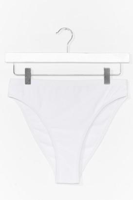 Nasty Gal Womens Summer Lovin' High-Leg Bikini Bottoms - White - 12