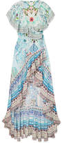 Camilla The Long Way Home Printed Silk Crepe De Chine Wrap Maxi Dress - Sky blue
