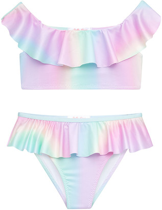 Stella Cove Girl's Rainbow Pastel Ruffle Two-Piece Bikini Set, Size 4-14