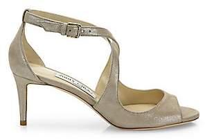 Jimmy Choo Women's Emily Shimmery Leather Crisscross Sandals