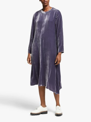 Eileen Fisher Long Velvet Dress, Blue Shale