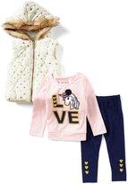 Flapdoodles Little Girls 2T-6X Foiled-Heart Hooded Vest, Graphic Tee & Leggings Set