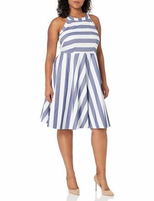 Eliza J Women's Size Stripe Fit & Flare Dress
