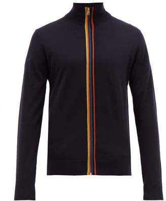Paul Smith Artist Stripe Zip Through Merino Sweater - Mens - Navy