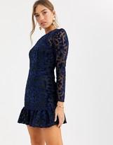 Asos Design DESIGN Premium lazer cut velvet mini dress with pephem