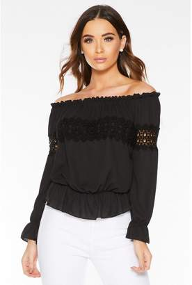 Quiz Black Chiffon Lace Bardot Top