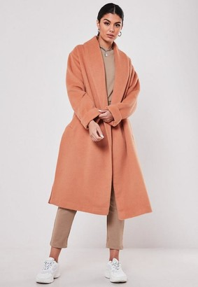 Missguided Pink Shawl Collar Side Split Coat